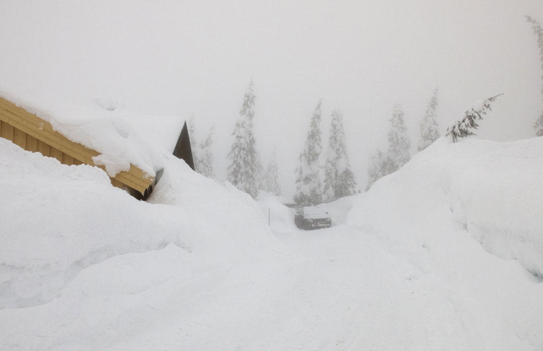 HELT NEDSNØDD VÆR: Nedsnødde og innesnødde hytter i tåke på Sjusjøen, der det har lagt seg store mengder snø og brøytekantene er historisk høye. Foto: Berit Roald / NTB scanpix