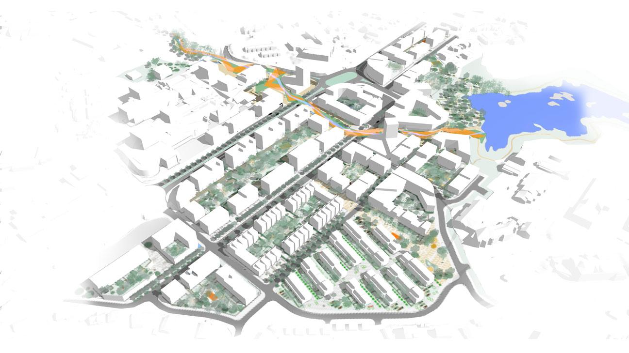 SENTRUM: Dette er en oversikt over hvordan Knarvik sentrum skal se ut. FOTO: Asplan Viak
