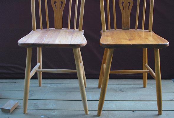 SJEKK FORSKJELLEN: Stolen til venstre er ferdig pusset, stolen til høyre er ikke pusset.FOTO: Tora Jervidalo / Selvlaget