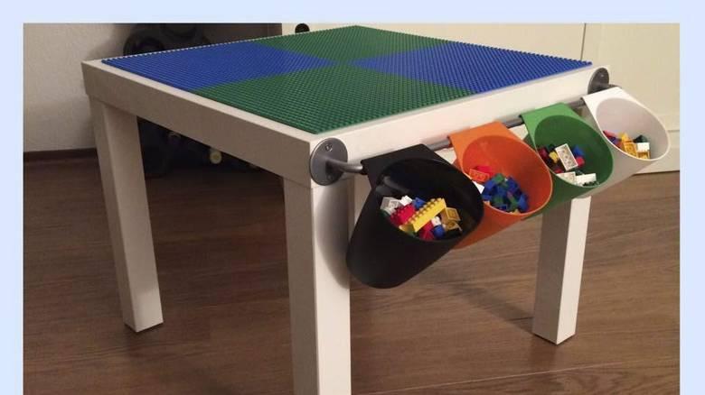 ALTERNATIV: Her har bordet fått legoplater og oppheng til legoklosser. FOTO: Stine Skoli