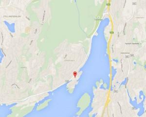 LIGGER HER: Kleiven ligger på en halvøy ved Nordåsvannet, mer eller mindre vis á vis kongens slott på Gamlehaugen.