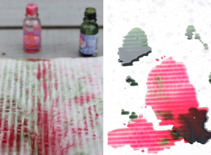 VÅT KUNST: Hell konditorfarge på en papplate og legg den ut et par minutter. Regnet vil lage sitt eget abstrakte kunstverk.