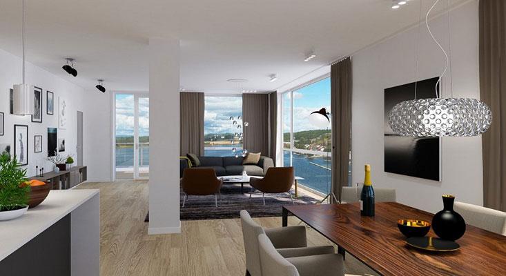 PÅ TOPPEN AV TØNSBERG: rosjektet inneholder ca 23 leiligheter som er lokaliser i plan 1-13. FOTO: Wilhelmsen & Partnere AS
