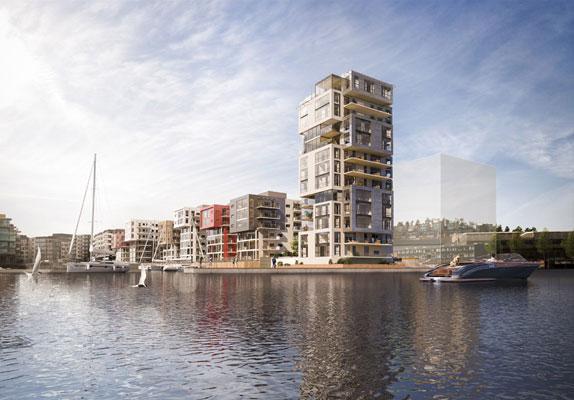 LITEN SKYSKRAPER: I 13. etasje i dette bygget ligger leiligheten som er på delt 12.-plass med Bergens-luksusen på Nordnes. FOTO: Wilhelmsen & Partnere AS