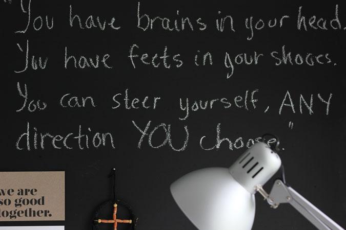 LA STÅ: På en tavle kan du skrive ned ting du må huske eller oppmuntrende ord og sitater. FOTO: Stina Andersen / Fru Andersen