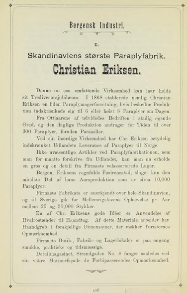 ANNONSE: Christian Eriksens paraplyforetak hadde denne helsides annonsen i Bergens by og Bergens mænd i 1898.