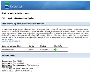 GODKJENT: Stedsnavnet Bestemorhølet er altså godkjent av Statens kartverk.