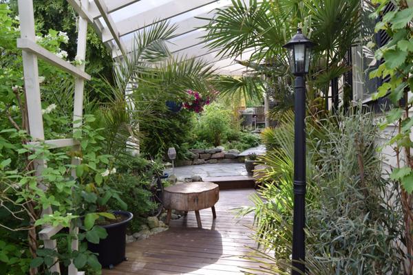 BAKSIDEN: På husets bakside er det også en del planter. Jeg falt for den krakken som er laget av en stor trestubbe. FOTO: Elisabeth Heggland Urø