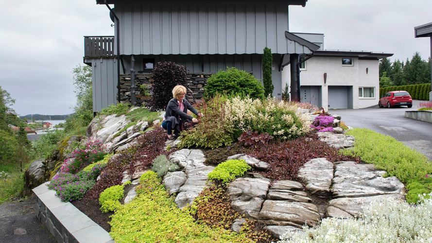 HAGEKJÆRLIGHET: - Det er utrolig hva som vokser på stein, sier Mette Dalseide, som elsker å putle i hagen. FOTO: Rune Sævig